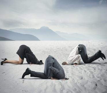 Natalie Junge Kopf in den Sand angesichts der Katastrophe